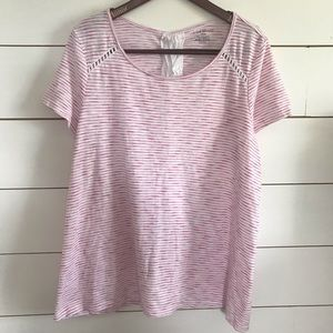 Lane Bryant Mixed Media Pink and White Stripe Top